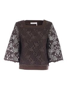 See by Chloé - Lace blouse in brown
