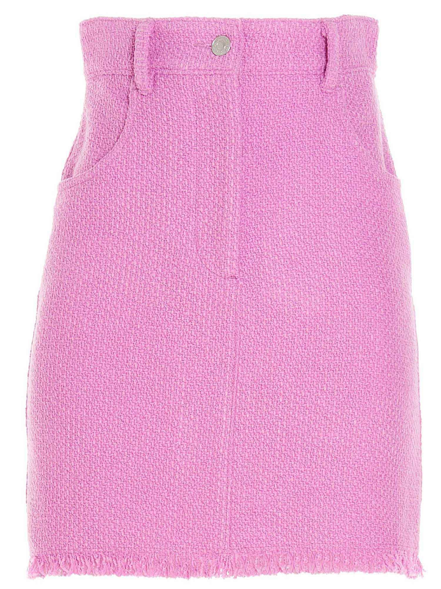 Msgm MICRO FRINGED SKIRT IN PINK