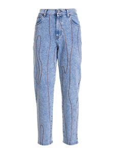 M Missoni - Embroidered jeans in light blue