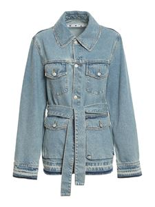 Off-White - Fringed denim jacket in light blue