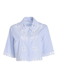 Red Valentino - Cropped popeline shirt in light blue
