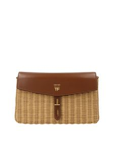 Tom Ford - Straw and leather crossbody bag in beige