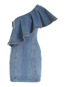 Elisabetta Franchi - One-shoulder denim dress in light blue