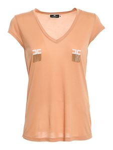 Elisabetta Franchi - V-neck T-shirt in orange