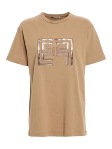 Elisabetta Franchi - Àjour monogram T-shirt in brown