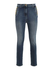 Elisabetta Franchi - Golden button high waist jeans in blue