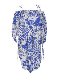 MSGM - Abstract print dress in blue