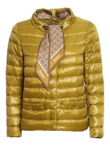 Herno - Scarf detailed puffer jacket in yellow