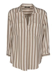 Seventy - Striped blouse in white and beige