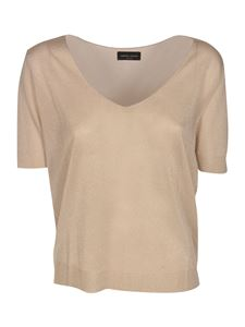 Roberto Collina - Knitted t-shirt in Oro Bianco color