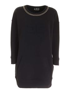 Elisabetta Franchi - Embossed logo dress in black