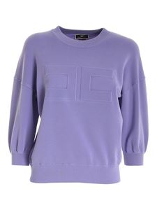 Elisabetta Franchi - Embossed logo sweatshirt in purple