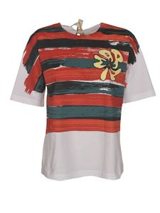 Marni - Striped painted T-shirt in white