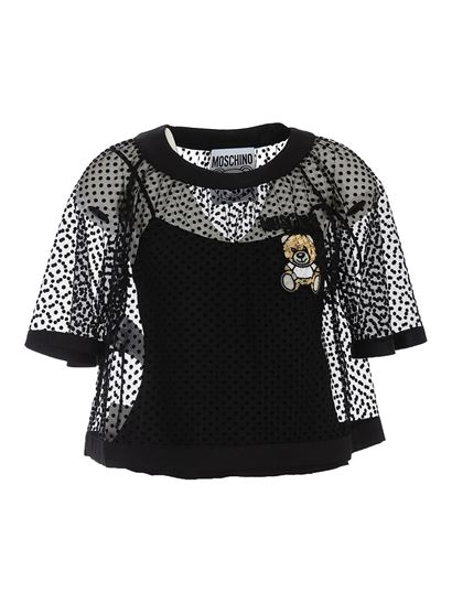 Moschino - Teddy embroidery plumetis top in black