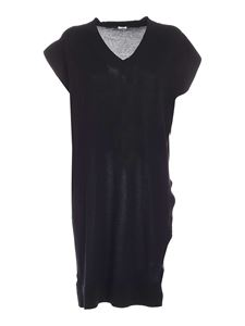 malo - Knitted long fit vest in black