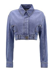 Balmain - Cropped denim jacket in blue