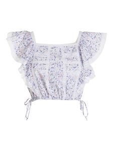 Ermanno Scervino - Floral print cropped top in white