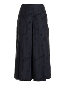 Ermanno Scervino - Embroidered cotton cropped pants in black