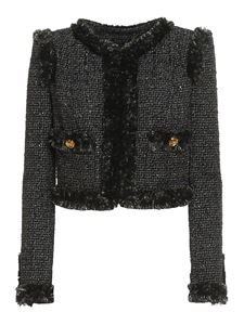 Elisabetta Franchi - Tweed cropped blazer in black