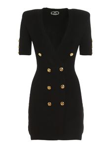 Elisabetta Franchi - Stocking stitch robe manteau in black