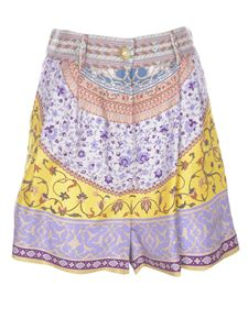 Etro - Floral and ramage print shorts in purple