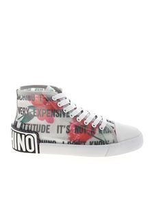 Moschino - Slogan and Flowers transparent sneakers