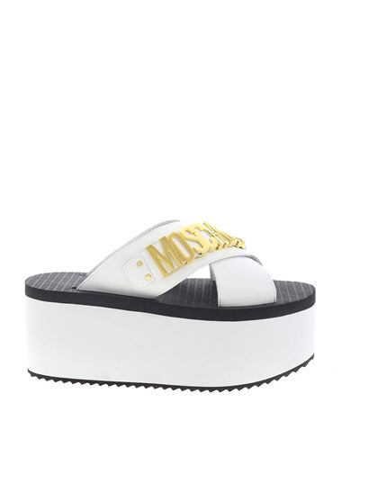 Moschino - Metal lettering logo sandals in white
