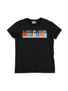 Moschino Kids - Multicolor logo T-shirt in black