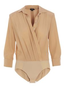 Elisabetta Franchi - Crossed bodysuit shirt in Champagne color