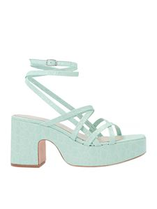 By Far - Pamela crocodile effect sandals in Ice color