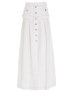 Elisabetta Franchi - Golden buttons detail tweed skirt in ivory