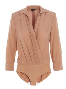 Elisabetta Franchi - Crossed bodysuit shirt in Rose Gold color