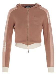 Elisabetta Franchi - Hooded and zipped sweatshirt in Rose Gold