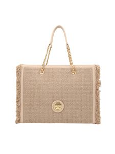 Elisabetta Franchi - Tweed tote bag in Champagne color