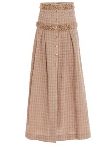 Elisabetta Franchi - Buttons detail tweed skirt in Champagne