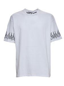 Vision Of Super - T-shirt bianca con fiamme ricamate nere
