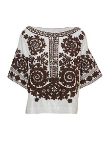Parosh - Sundried embroidered blouse in white and green
