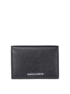 Dsquared2 - Saffiano leather bifold logo cardholder in black