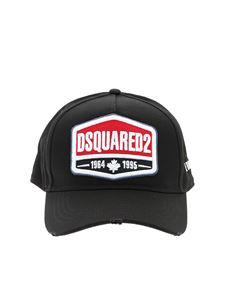 Dsquared2 - Cappello da baseball con patch logo nero