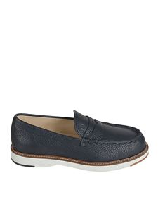Tod's - Embossed logo loafers in blue