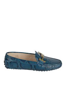 Tod's - Croco print Gommino loafers in blue