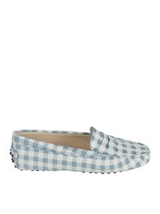 Tod's - Checked print loafers in white and light blue
