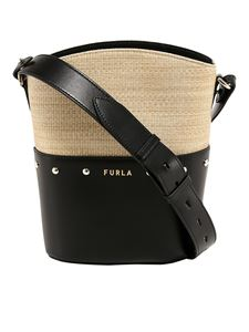 Furla - Raffia and leather tote bag in beige and black