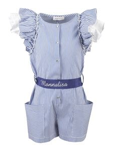 Monnalisa - Striped cotton playsuit in blue