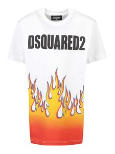 Dsquared2 - Flames and logo print T-shirt in white