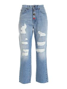 Semicouture - Cecile destroyed effect jeans in light blue