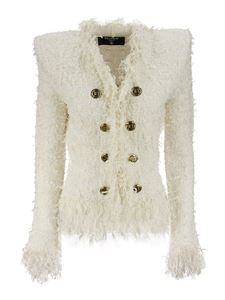 Balmain - Tweed fringed jacket in ivory color