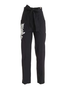 TWINSET - Contrasting embroidery trousers in black