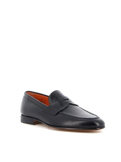 Santoni - Smooth leather penny loafers in black