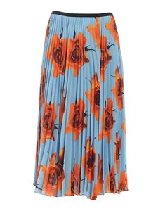 Paul Smith - Pleated skirt in light blue and orange color